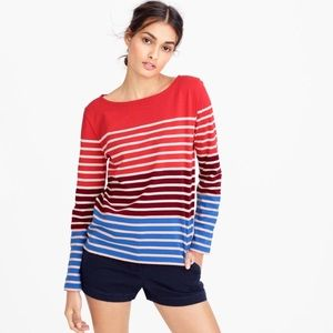 J. Crew Multistripe T Shirt Red White Blue Cotton